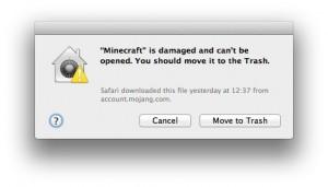 Minecraft damaged warning window